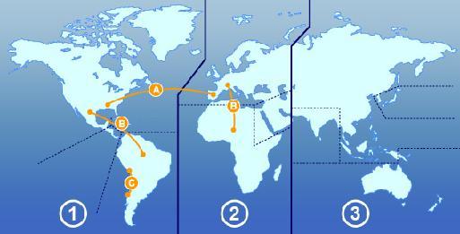 ¿Cuáles son las tres áreas o zonas en las que IATA divide geográficamente el mundo?